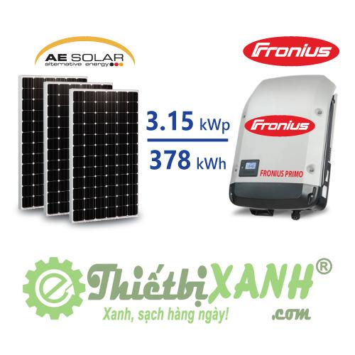 Hệ thống điện mặt trời hòa lưới 3,15 kW 01 pha